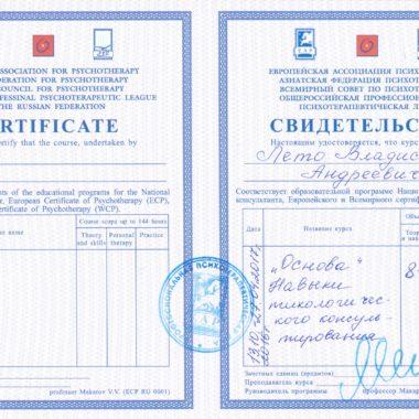 сертификат группы повышения профессиональных навыков Основа